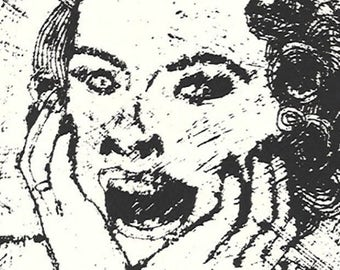 EEK!-Screaming Housewife-Midcentury Retro-Monotype Collograph-8 x 10 inches