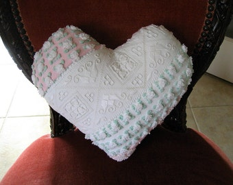 Sweet Petite Handmade Vintage Chenille Heart Pillow - Rosebuds and Lace