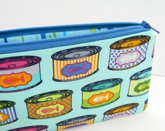 Zippered Pencil Pouch, Cat Snacks on Blue, Tula Pink, Tabby Road, Cat Food Cans