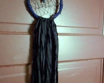 Raven. Moody Boho dark Gothic Dream Catcher Deep purple Sari silk ceramic tribal raven skull vintage tapestry hemp cord webbing Dreamcatcher