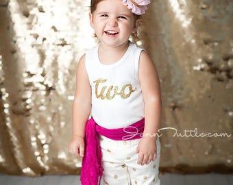 2nd Birthday Shirt, Gold Glitter 2 Top for Toddler Girls, Second Birthday Shirt