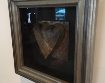 Antique Tin Heart Cookie Cutter in Shadowbox