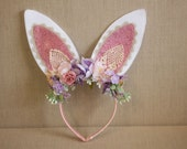 Spring Bunny Ears Headband with Glitter and Lace Ears - Flowers - Greenery - Perfect for Photos, Parties or Everyday Wear