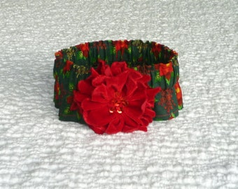 "Christmas Dog Collar, Flowers and Flakes Dog Scrunchie Collar with velveteen poinsettia - Size M: 14"" to 16"" neck - OnE of A KiNd"