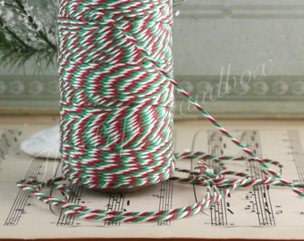 Baker's Twine, Red/White/Green Twine, 10 yards, Christmas Ribbon, Gift Wrapping, Party Supplies, Baker's Twine, Jewelry Supplies