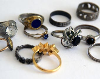 Mixed Lot of Cocktail Rings for Crafts