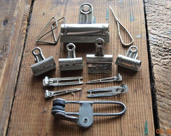2 Boston Clips No. 1,Sewing Machine Screwdriver,2 unmarked clips, Angel Paper Clip , 1 clip ,1 Hunt Mfg Co,4 Hair clips Lady Ellen Lot