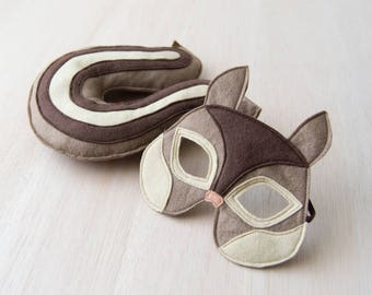 Chipmunk Costume for Children, Kids Carnival Halloween Mask and Tail,  Eco Friendly Dress up for Girls Boys and Toddlers