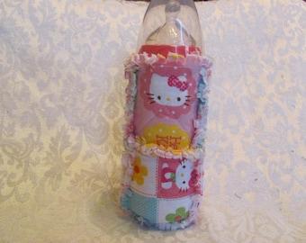 Pink Hello Kitty Inspired Baby Bottle Cover/Holder/ Cozie/ Cozy  Quilted Bottle Cover Rag Quilted Baby Shower Gift