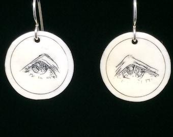 Stargazer Scrimshaw Earrings