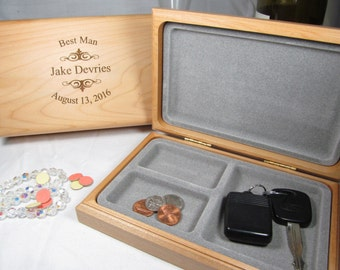 3 Engraved Valet Wood Box Personalized Groomsman Groomsmen Valet Case Best Man Usher Keepsake Wedding Party Gifts