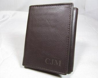 RFID Monogrammed Leather Trifold Brown Wallet, Engraved Wallet, Personalized Wallet, Groomsman, Groomsmen Gifts, Initials VERTICAL