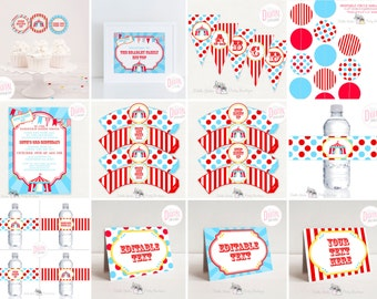 DIGITAL Circus Party Kit, Editable Text, Invitation, Banner, Garland, Table Signs, Cupcake Toppers and Wrappers, Drink Labels, PDF Files