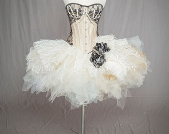 Custom Size black and ivory ostrich feather Marie Antoinette Burlesque steampunk corset dress with hair piece S-XL