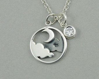 Moon Necklace - Sterling Silver Celestial Jewelry, Birthstone Necklace, Charm Necklace, Birthday Gift,