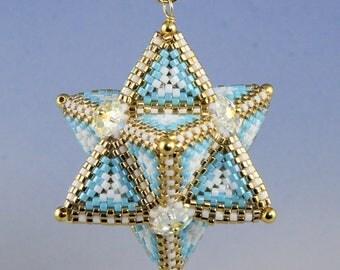 Tetrahedron Star, peyote pattern for pendant