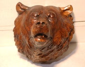 Pyrographic Cedar Grizzly Bear Head