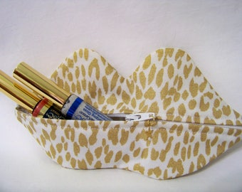 Zippy Lips in Cheetah Gold - Makeup Pouch - Coin Purse - Lipstick Pouch - Ready To Ship