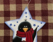 Adorable Penguin Blue Star Hand Painted Wood Christmas Ornament