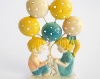Vintage Revere Earring Tree • 1970's Boy Girl Balloon Metal