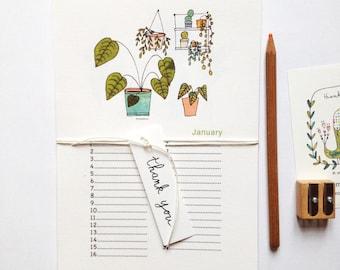Birthday Calendar - house plants illustrations, perpetual birthday calendar, cactus, succulents, monstera, plants illustration
