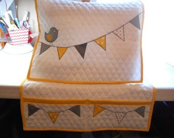 Sewing Machine Cover and Mat-Bird  with Flags- Yellow and Gray - Handmade