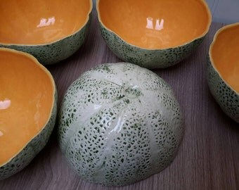 Beautiful vintage Cantaloupe Fruit Bowls Set of five Specially made by Zebra