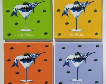 Marlin Martini in assorted colors Sandstone Coaster set comes with gift box olives humorous sportfishing gift