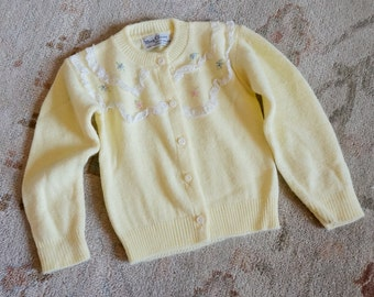 "Vintage 1960s Baby Size 6M Cardigan Sweater by May Claire / chest 19"" length 10.5"" / Soft Yellow Acrylic Lace Floral Embroidery Retro Baby"