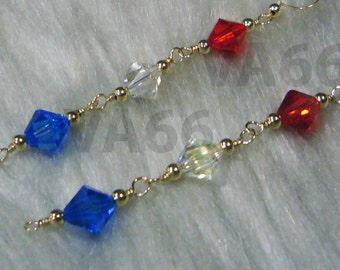 Long 14K Gold Filled Swarovski Crystal Triple 8mm Bicone Earrings Colors Red White Blue Bridesmaids Bride, Flower Girl, MOB, Gift 925 Silver