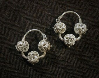 Reproduction authentic 10th - 14th century Rus / Slav / Viking / Medieval silver granulated filigree temple rings / earrings