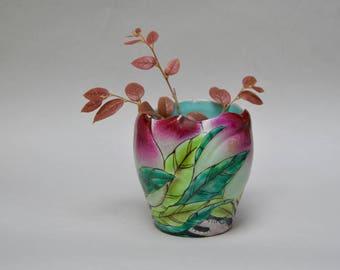 Vintage Ceramic Tulip Flower Vase . Turquoise Blue . Colorful Flower . Handprinted