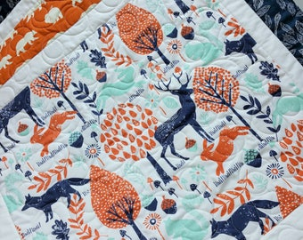 Modern Woodland Baby Quilt-Navy Mint Orange Baby Blanket-Deer-Fox-Buck-Antler-Bear Hike-Handmade Quilt-Baby Bedding