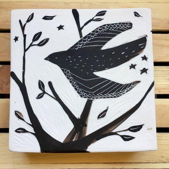 Porcelain Wall Art Black Bird with Berries