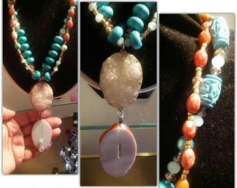 Druzy Agate Royal Collection Chunky Necklace Created by Yoyos Creative Jewelry Designs