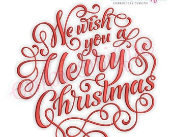 We Wish You A Merry Christmas Calligraphy Circle Embroidery Design  - Instant Download for Machine Embroidery