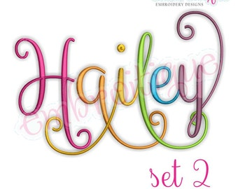 Hailey Monogram Set 2 - Curly Swirly Calligraphy Interchangeable Alphabet- BX files included- Instant Download Machine embroidery design