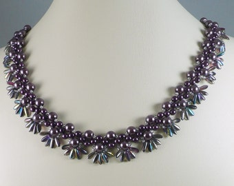 Woven Pearl Necklace Plum with Fringe