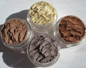 4 Piece Set Vegan Mineral Makeup Gift Set Three Brown Eye Shadows Plus one Yellow Top Seller