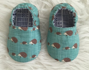 Aqua Hedgehogs Soft Soled Moccs - Elastic Back - Made to Order