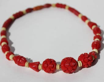Vintage Retro Mod Cherry Red Carved Celluloid Plastic Beaded Necklace