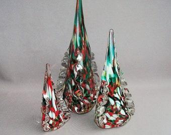 Hand Blown Art Glass  Christmas Trees - Set of 3