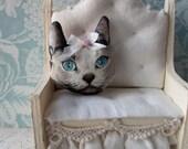 Dollhouse miniature Silver gray cat kitty head miniature pillow