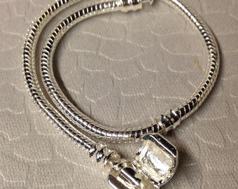 European style snake chain bracelet with indentions for stopper beads to add more large holed beads