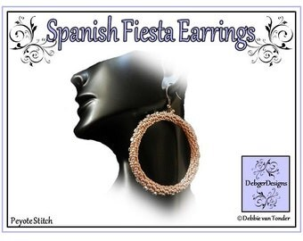 Beading Pattern, Tutorial, Earrings - SPANISH FIESTA