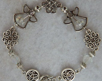 Silver Guardian Angel Link Bracelet Jewelry Handmade NEW Fashion Accessories Religious