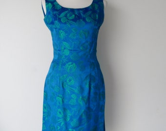 Vintage 1960s Blue and Green Brocade Backless Cocktail Dress