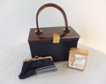 Vintage Handbag Purse Navy Cloth Square with Plastic Lid and Handle with Chesterfield Cigarette Case Comb Coin Purse Accessories