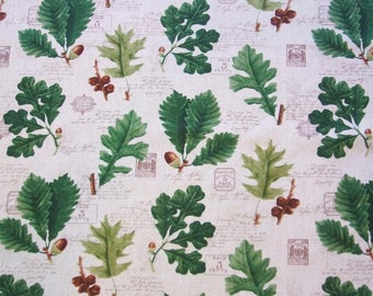 Cream Leaves Oak Leaf Acorn Botanical Timeless Treasures Fabric Yard
