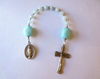 Single decade Rosary of Aquamarine and Amazonite with Miraculous Medal, March Birthstone Rosary